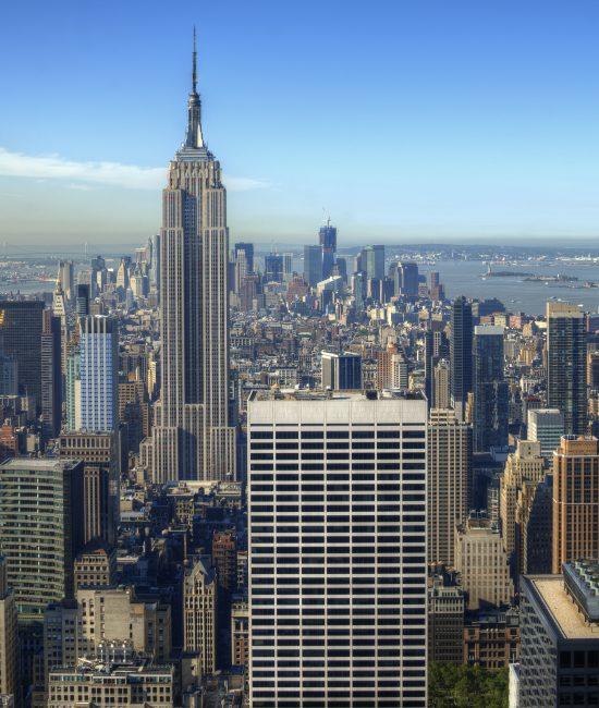 View of midtown Manhattan with landmark buildings in New York City.